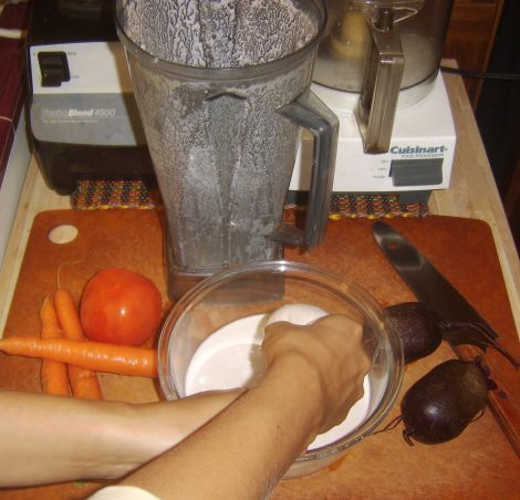 Making the Almond Milk/Base for Borsch